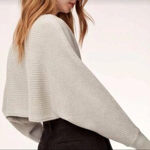 Aritzia Cropped Grey Wool Sweater